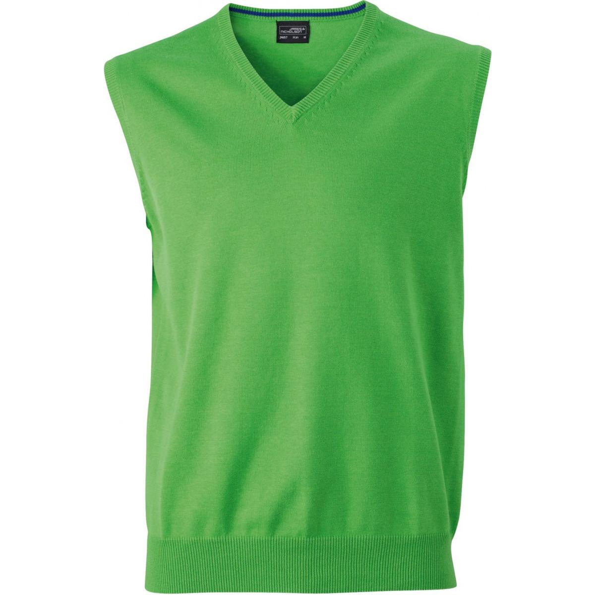 Жилет вязаный мужской JN657 Mens V-Neck Pullunder - Насыщенный зеленый