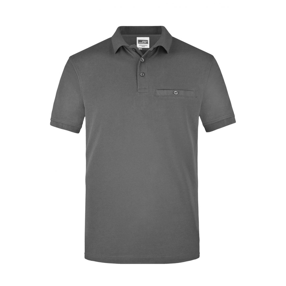 Рубашка поло мужская JN846 Men´s Workwear Polo Pocket - Темно-серый