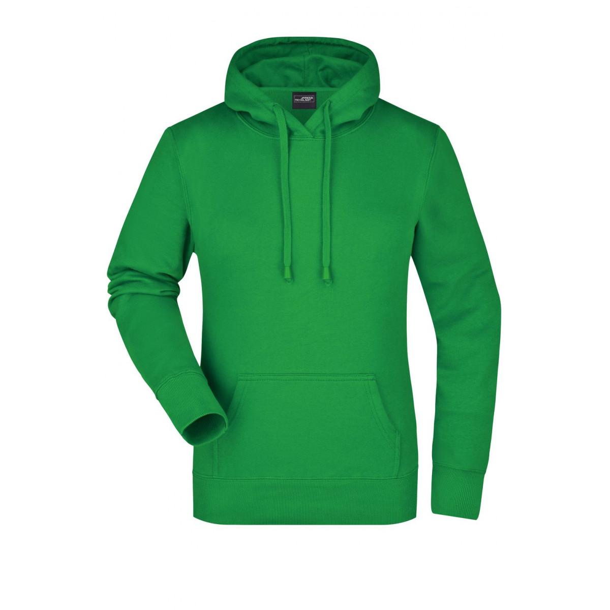 Толстовка женская JN051 Ladies Hooded Sweat - Насыщенный зеленый