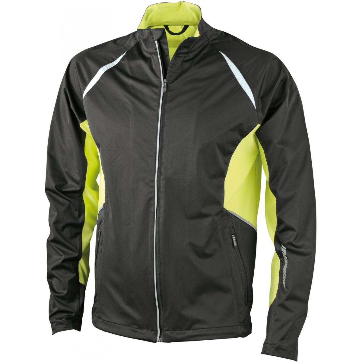 Куртка мужская JN440 Mens Sports Jacket Windproof - Черный/Ярко-желтый