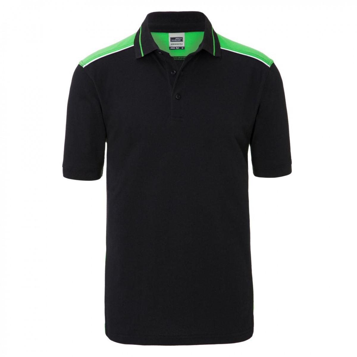 Рубашка поло мужская JN858 Mens Workwear Polo-Level 2 - Черный/Лайм