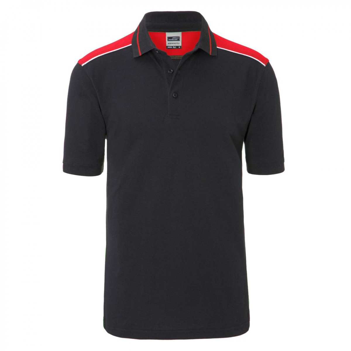 Рубашка поло мужская JN858 Mens Workwear Polo-Level 2 - Темно-серый/Красный