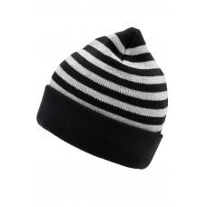 Шапка MB7138 Striped Winter Beanie - Черный/Светло-серый меланж