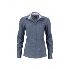 "Рубашка женская JN669 Ladies' Shirt ""Diamonds"" - Темно-синий/Белый"