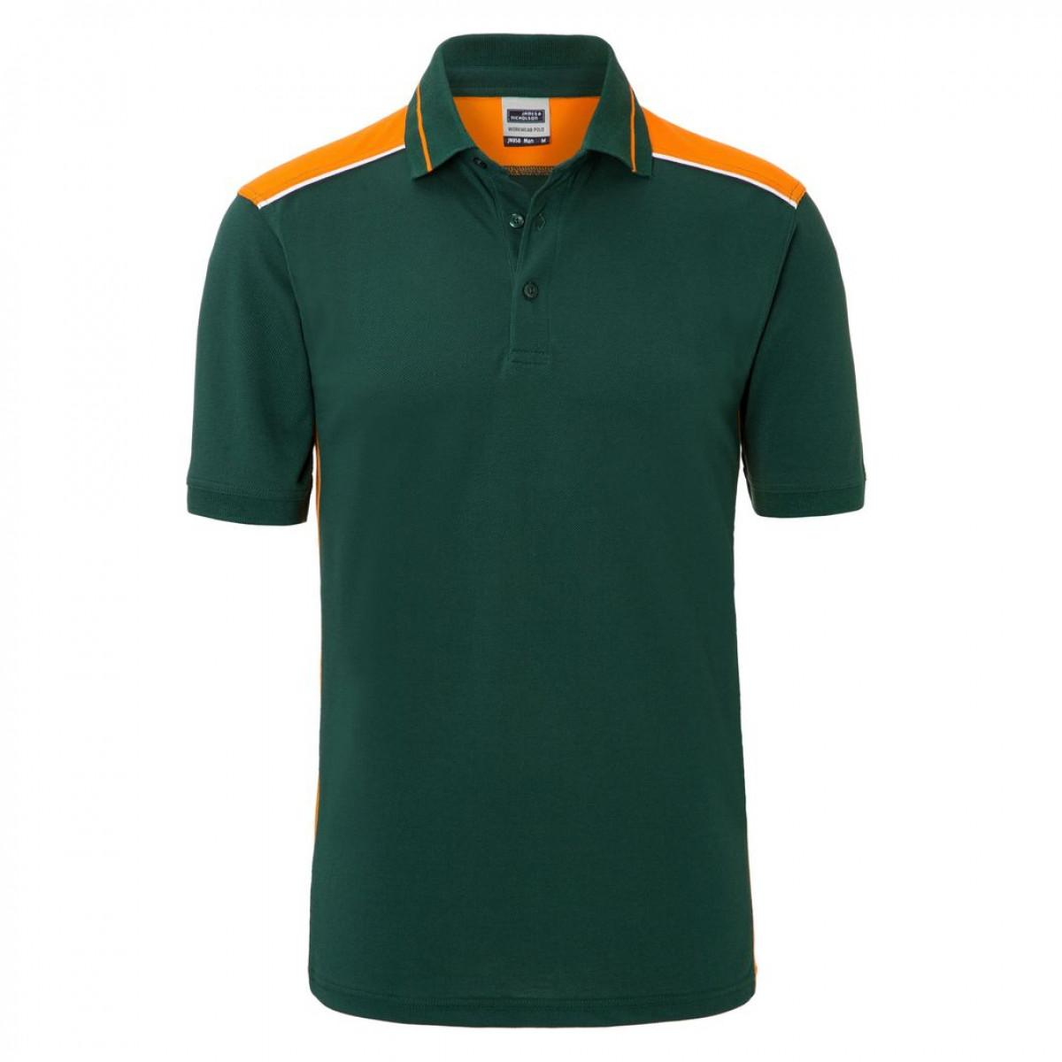 Рубашка поло мужская JN858 Mens Workwear Polo-Level 2 - Темно-зеленый/Оранжевый