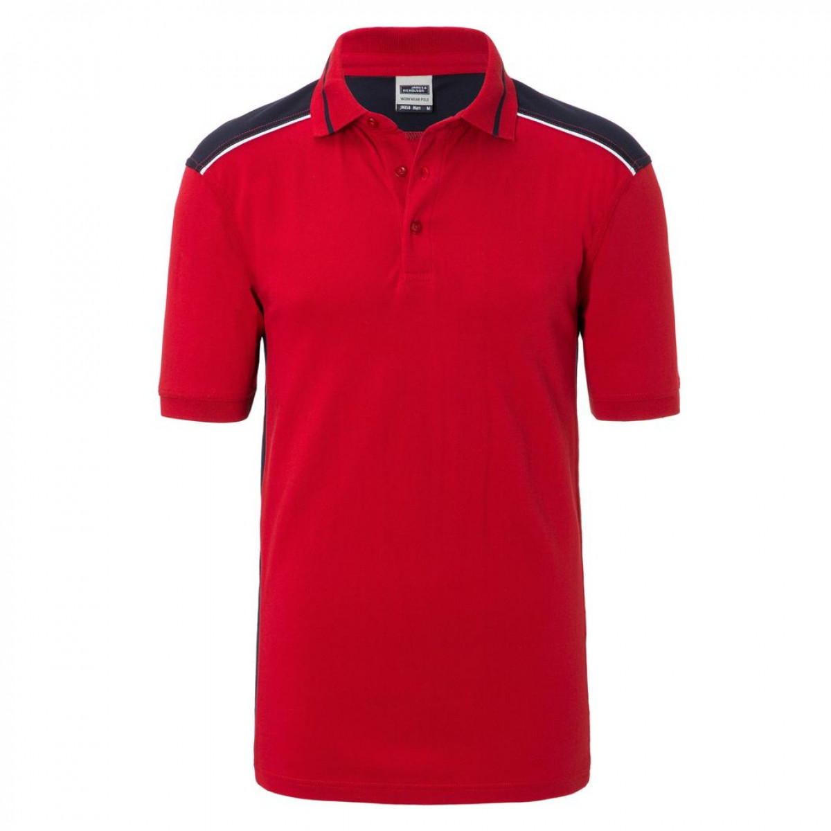 Рубашка поло мужская JN858 Mens Workwear Polo-Level 2 - Красный/Темно-синий