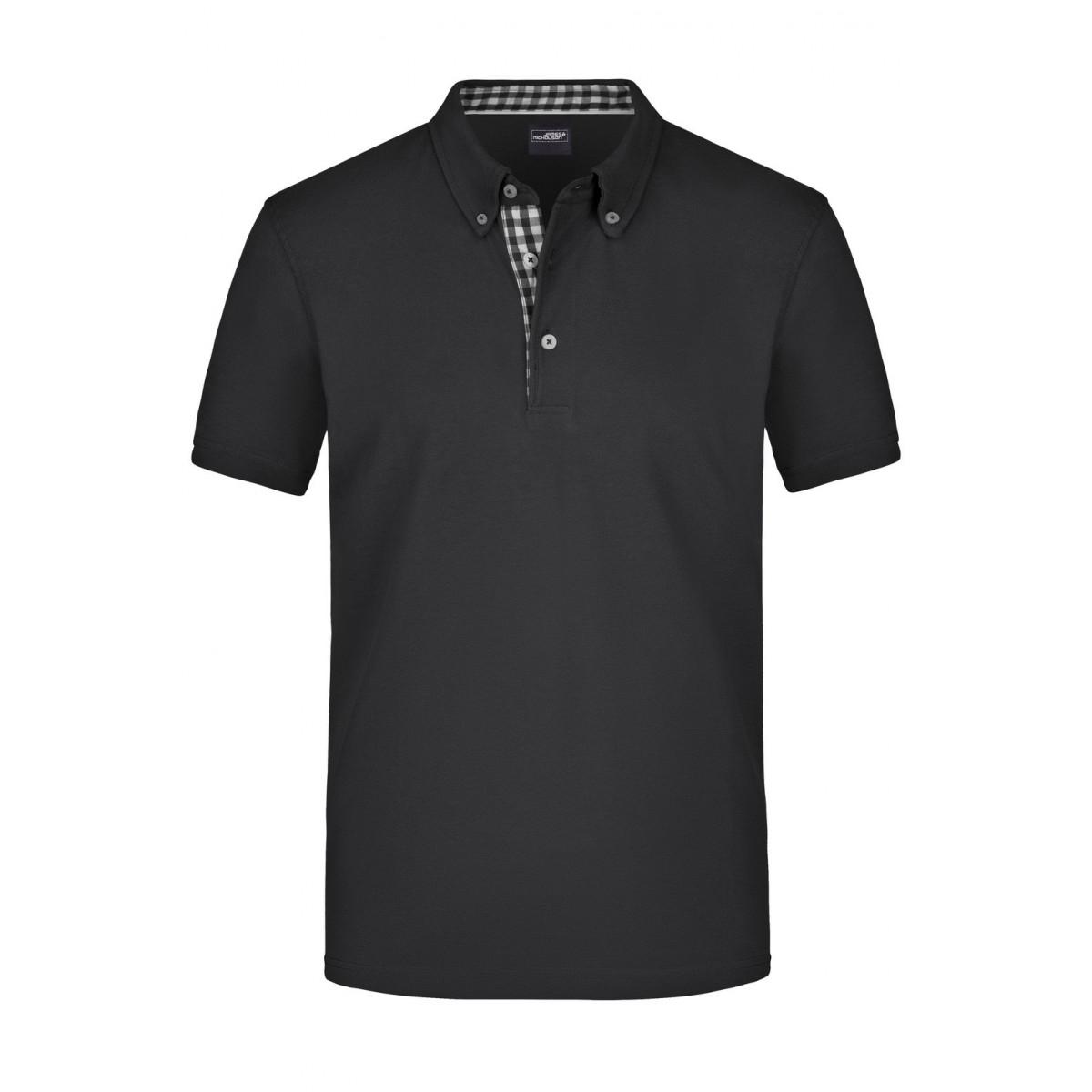 Рубашка поло мужская JN964 Mens Plain Polo - Черный/Черный-Белый