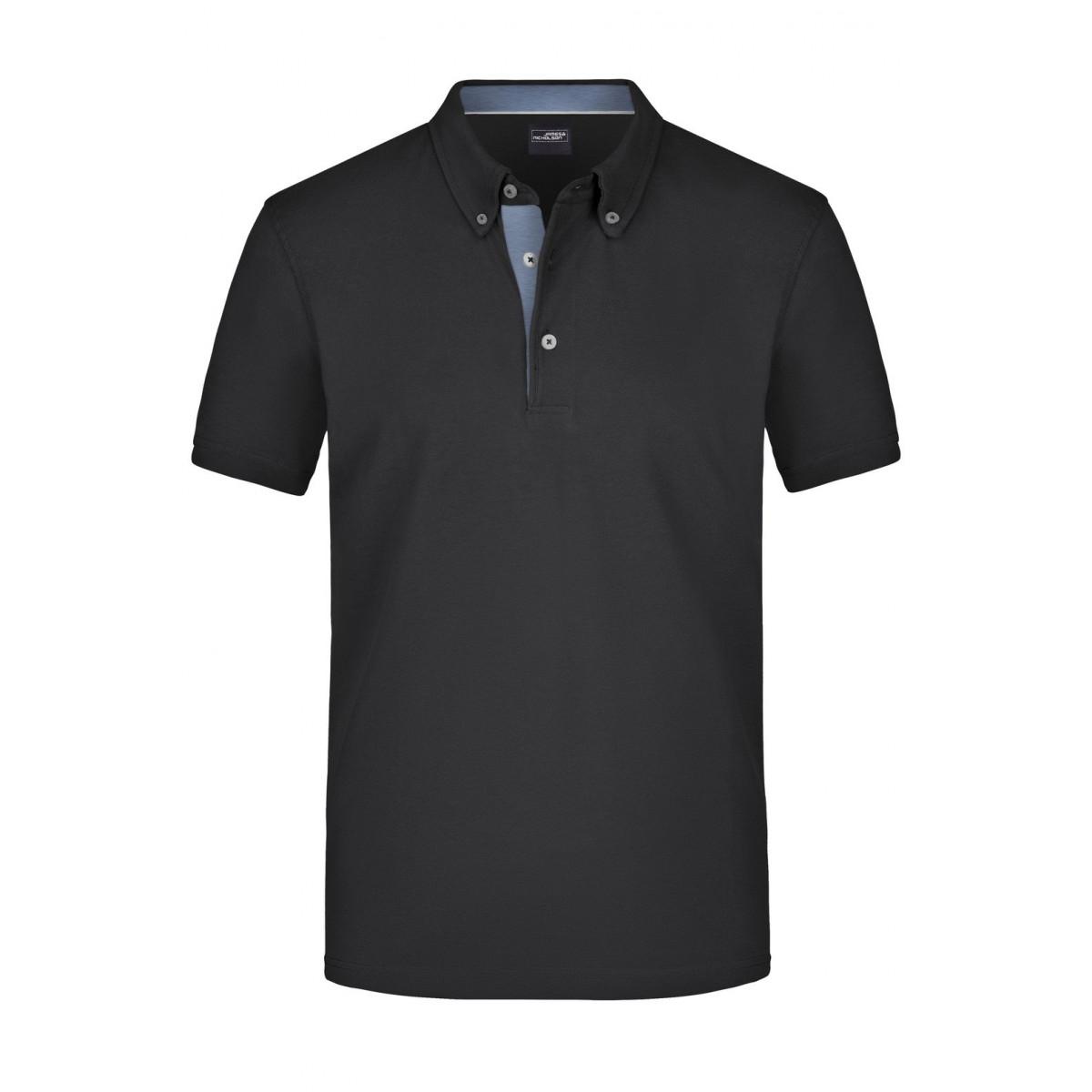 Рубашка поло мужская JN964 Mens Plain Polo - Черный/Светлый джинс