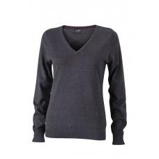 Пуловер женский JN658 Ladies' V-Neck Pullover - Темно-серый меланж