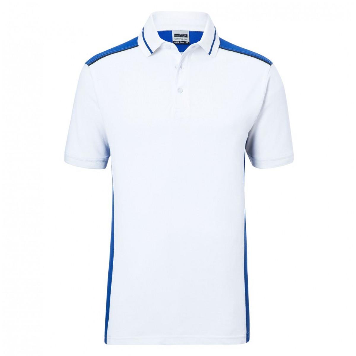 Рубашка поло мужская JN858 Mens Workwear Polo-Level 2 - Белый/Ярко-синий