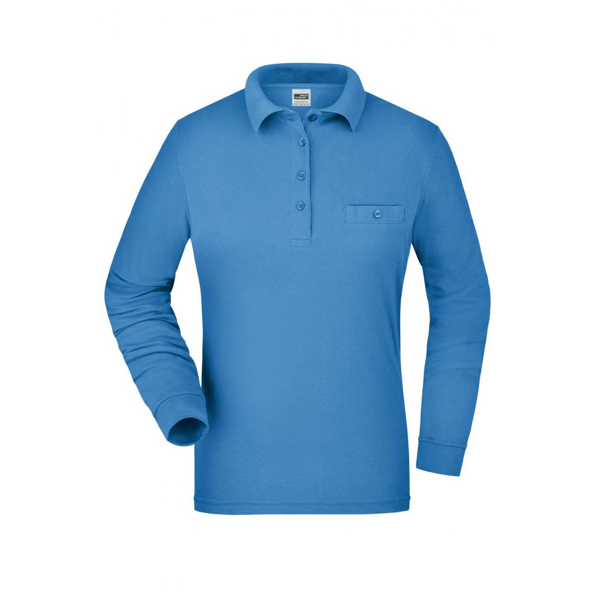 Рубашка поло женская JN865 Ladies Workwear Polo Pocket Longsleeve - Аква