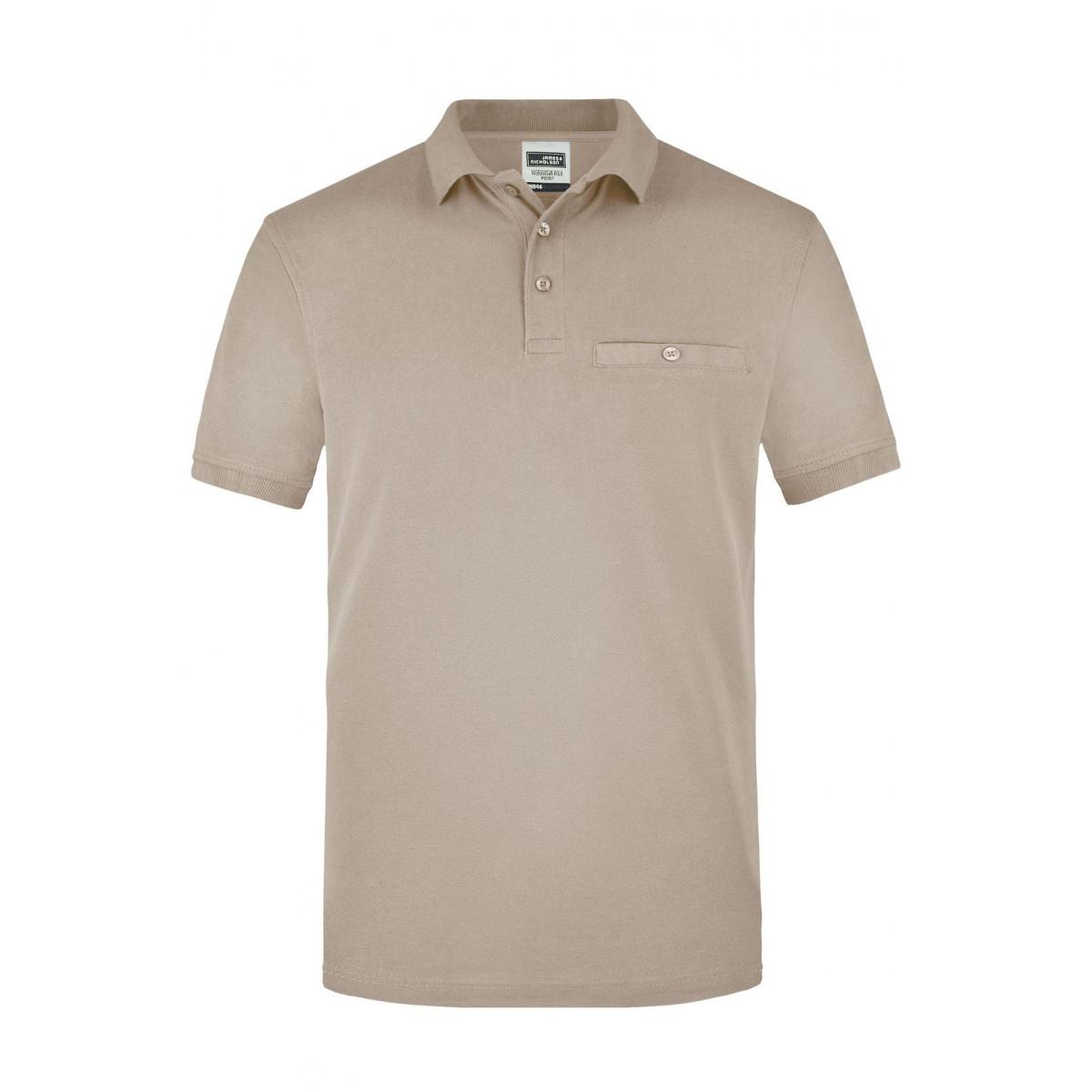 Рубашка поло мужская JN846 Men´s Workwear Polo Pocket - Бежевый