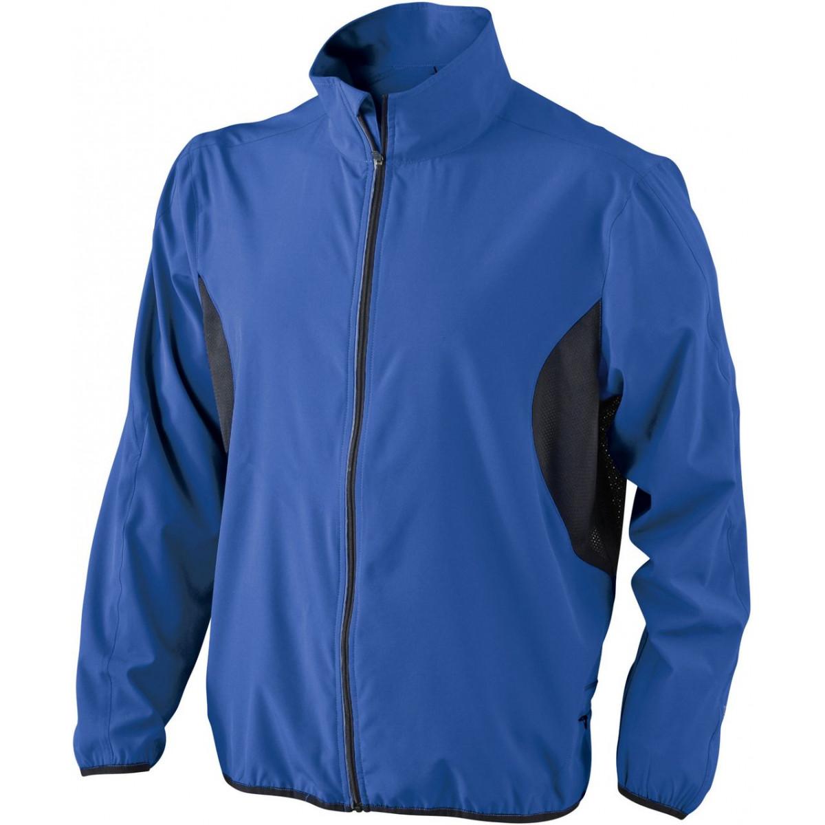 Куртка мужская JN444 Mens Running Jacket - Ярко-синий/Черный