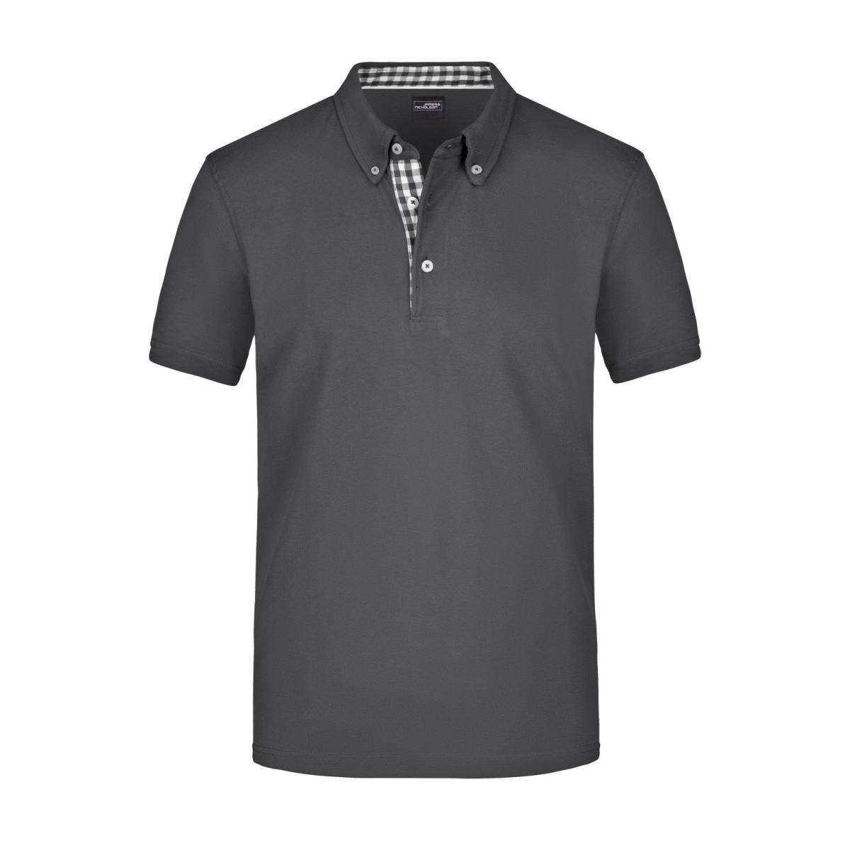 Рубашка поло мужская JN964 Mens Plain Polo - Темно-серый/Темно-серый-Белый