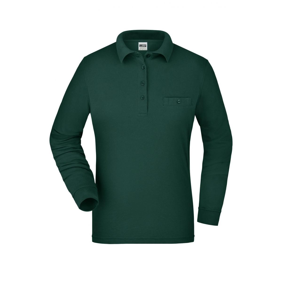 Рубашка поло женская JN865 Ladies Workwear Polo Pocket Longsleeve - Темно-зеленый