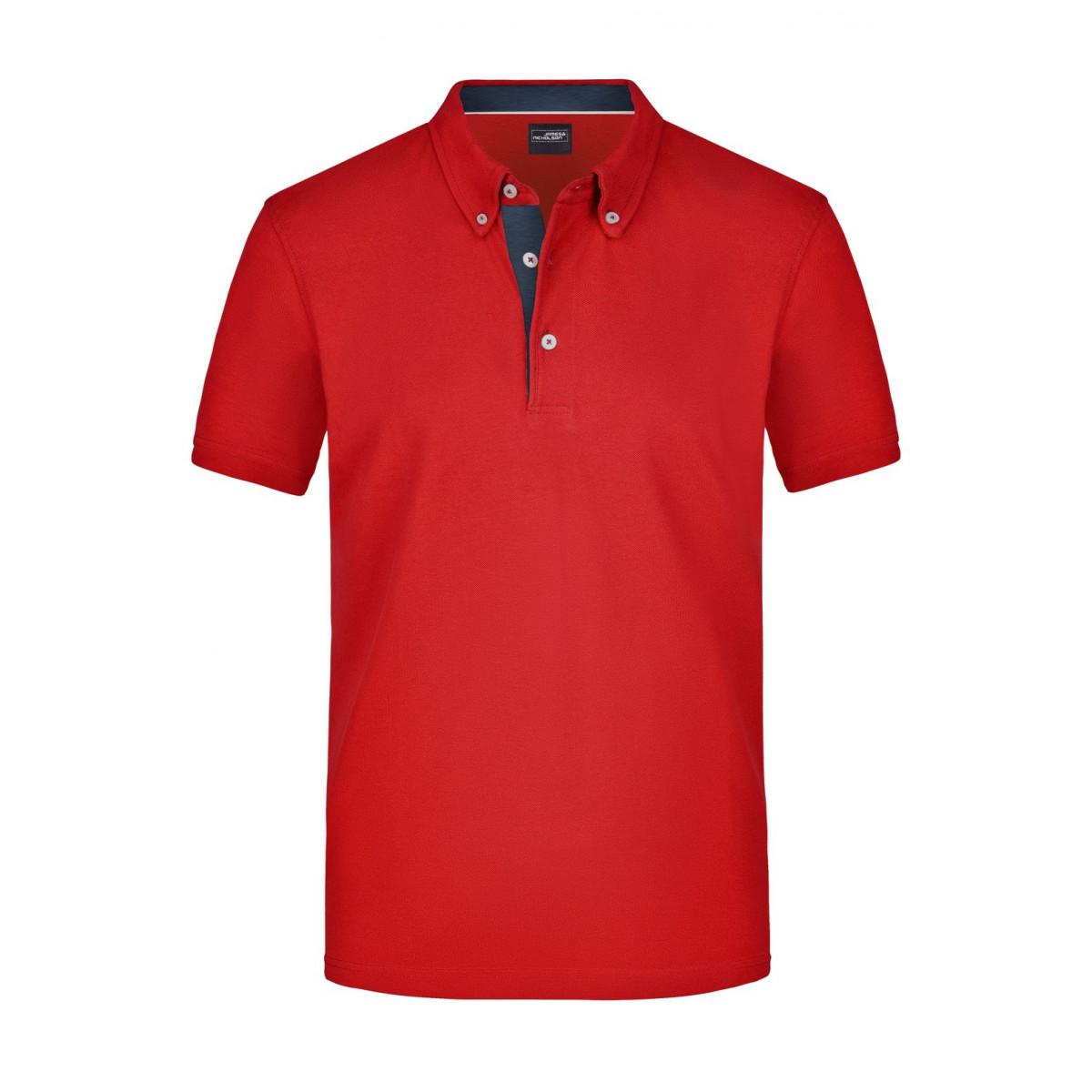 Рубашка поло мужская JN964 Mens Plain Polo - Красный/Джинс