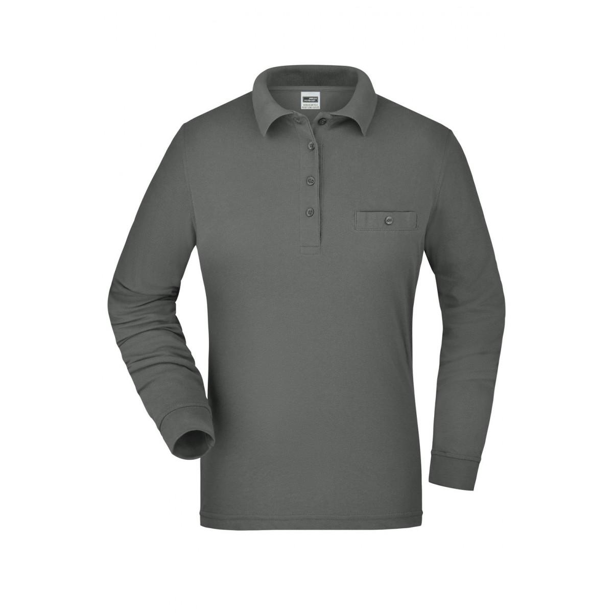 Рубашка поло женская JN865 Ladies Workwear Polo Pocket Longsleeve - Темно-серый