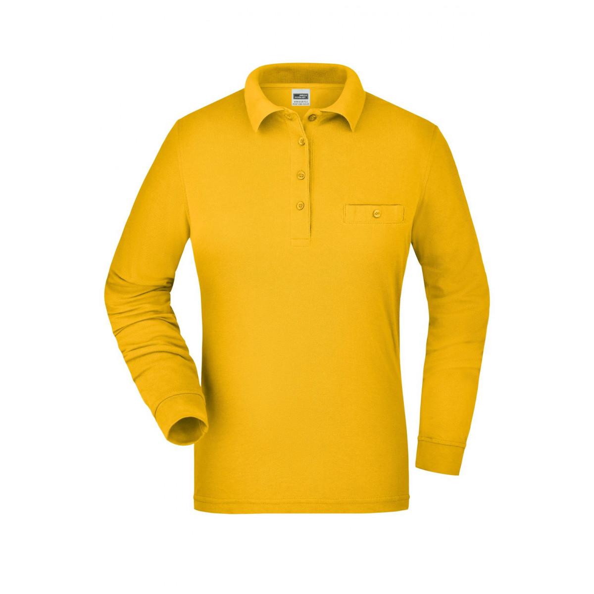 Рубашка поло женская JN865 Ladies Workwear Polo Pocket Longsleeve - Золоистый желтый