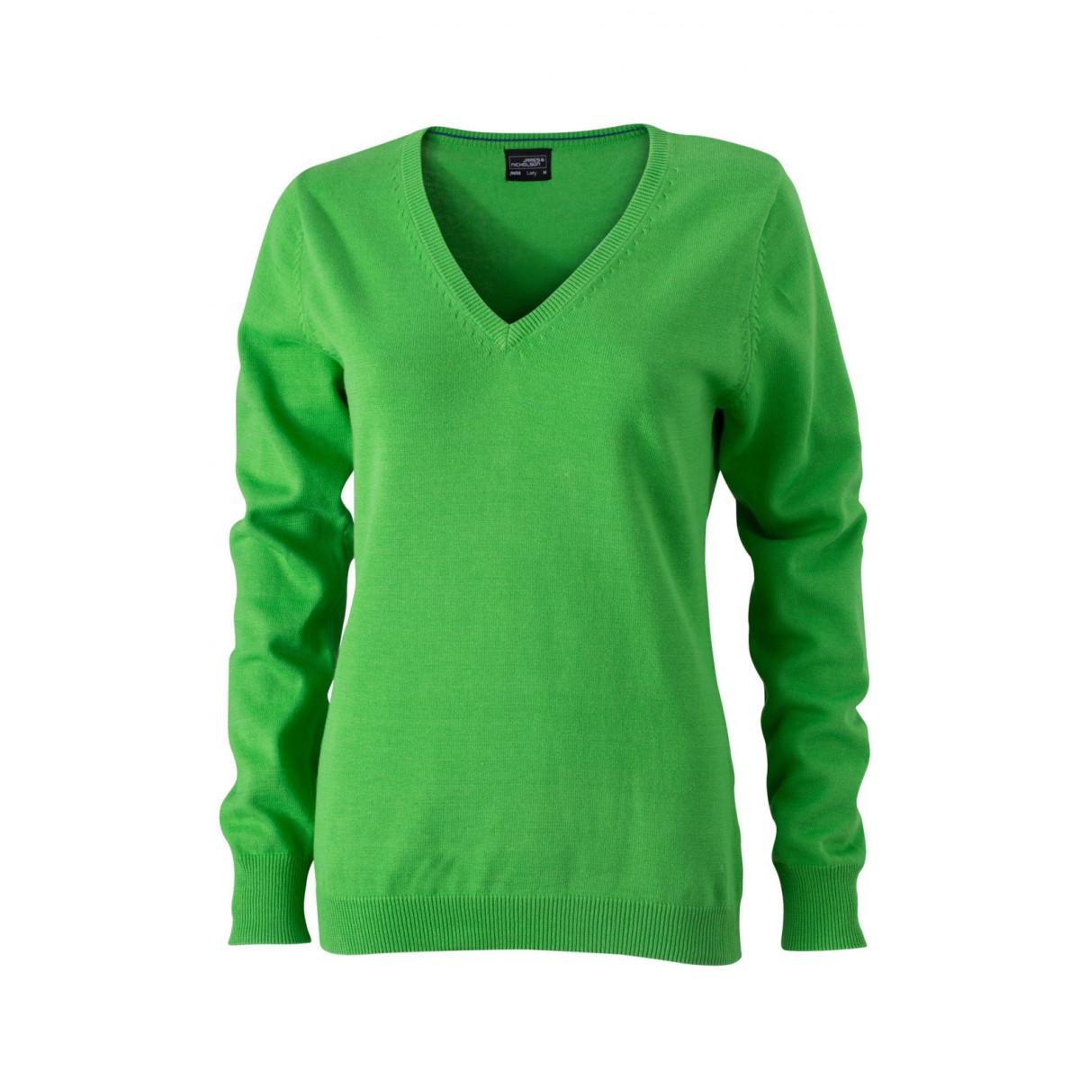 Пуловер женский JN658 Ladies V-Neck Pullover - Насыщенный зеленый