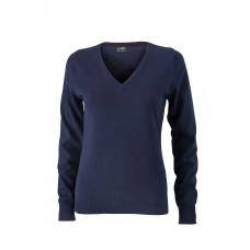 Пуловер женский JN658 Ladies' V-Neck Pullover - Темно-синий