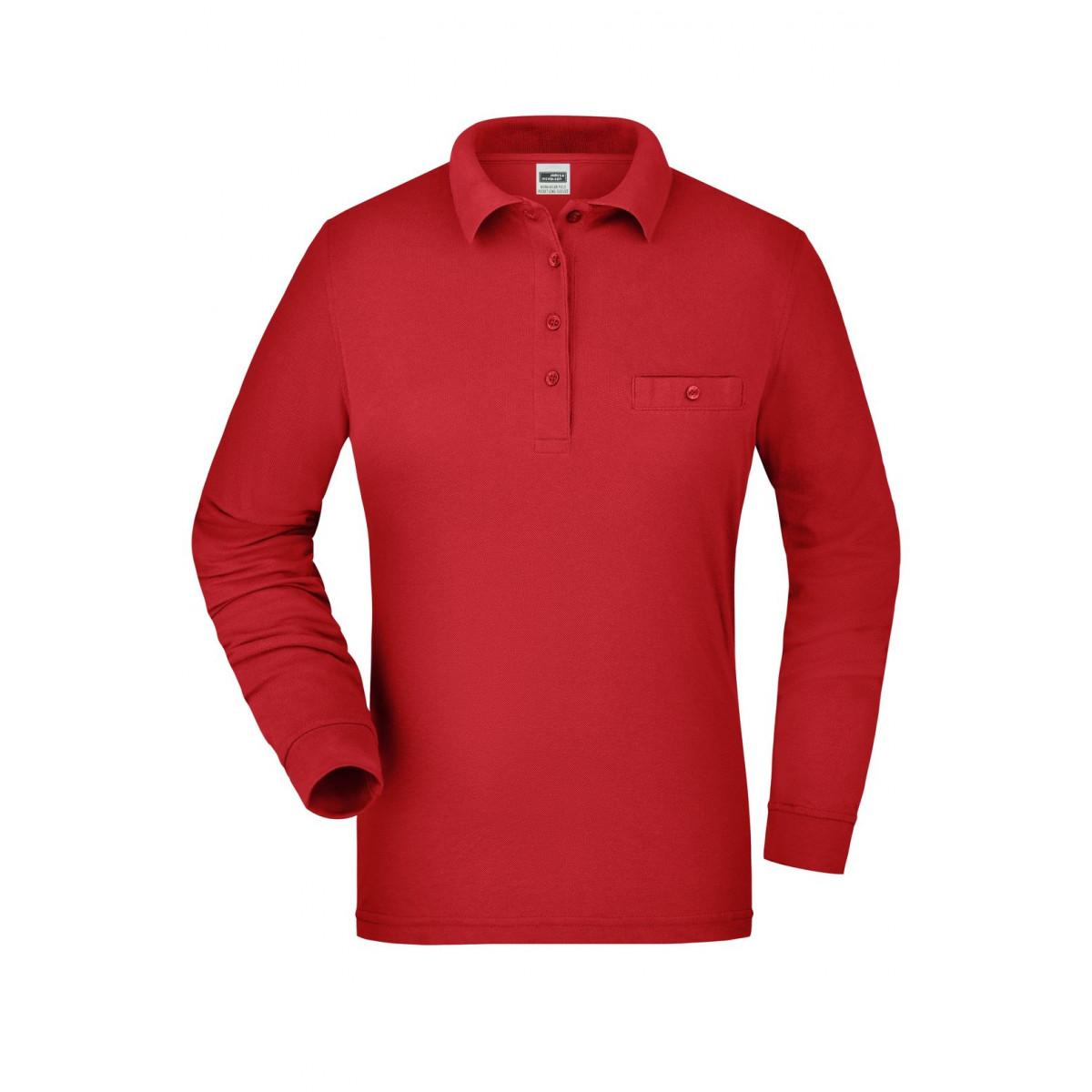 Рубашка поло женская JN865 Ladies Workwear Polo Pocket Longsleeve - Красный