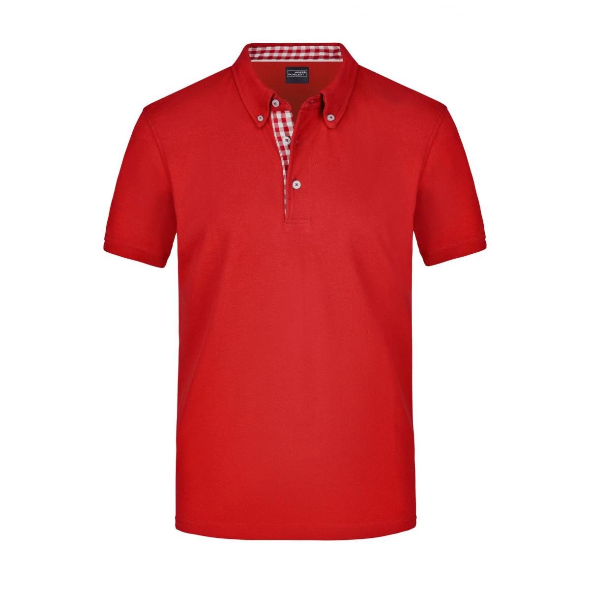Рубашка поло мужская JN964 Mens Plain Polo - Красный/Красный-Белый
