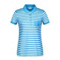 Рубашка поло женская 8029 Ladies' Polo Striped - Светло-голубой/Белый