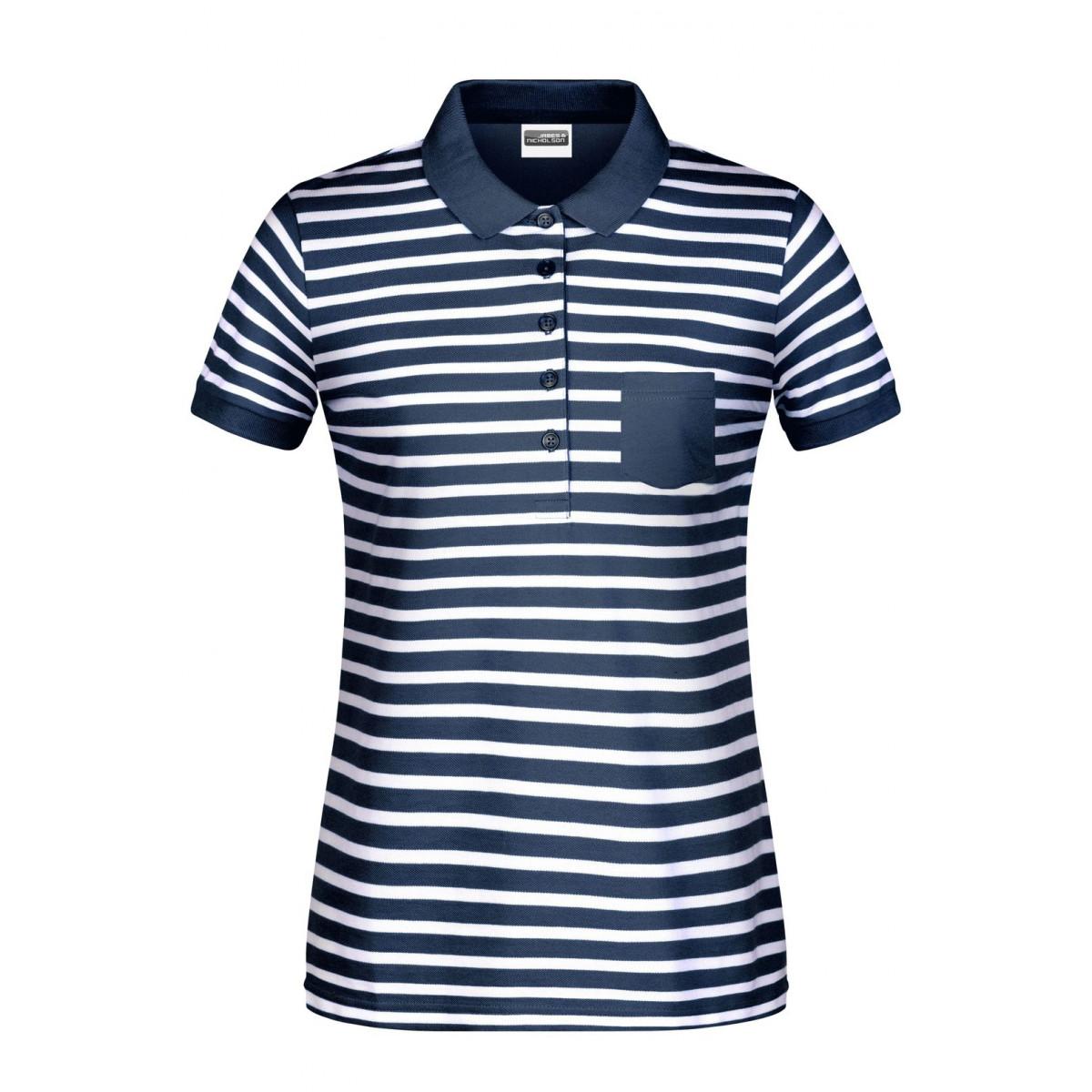 Рубашка поло женская 8029 Ladies Polo Striped - Темно-синий/Белый