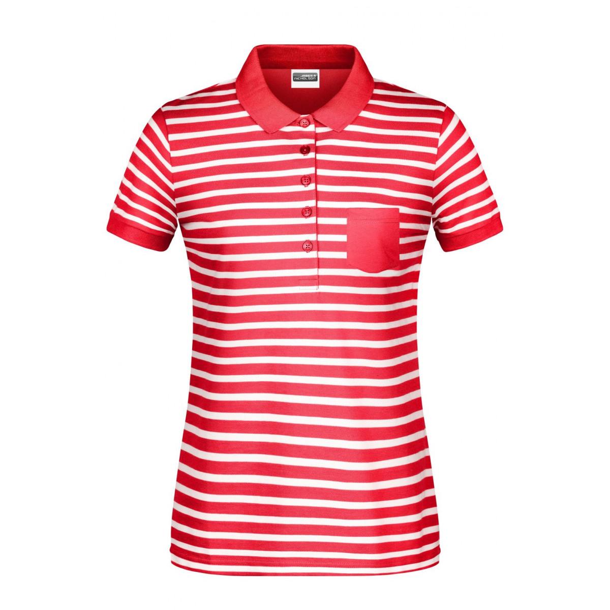 Рубашка поло женская 8029 Ladies Polo Striped - Красный/Белый