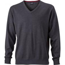 Пуловер мужской JN659 Men's V-Neck Pullover - Темно-серый меланж