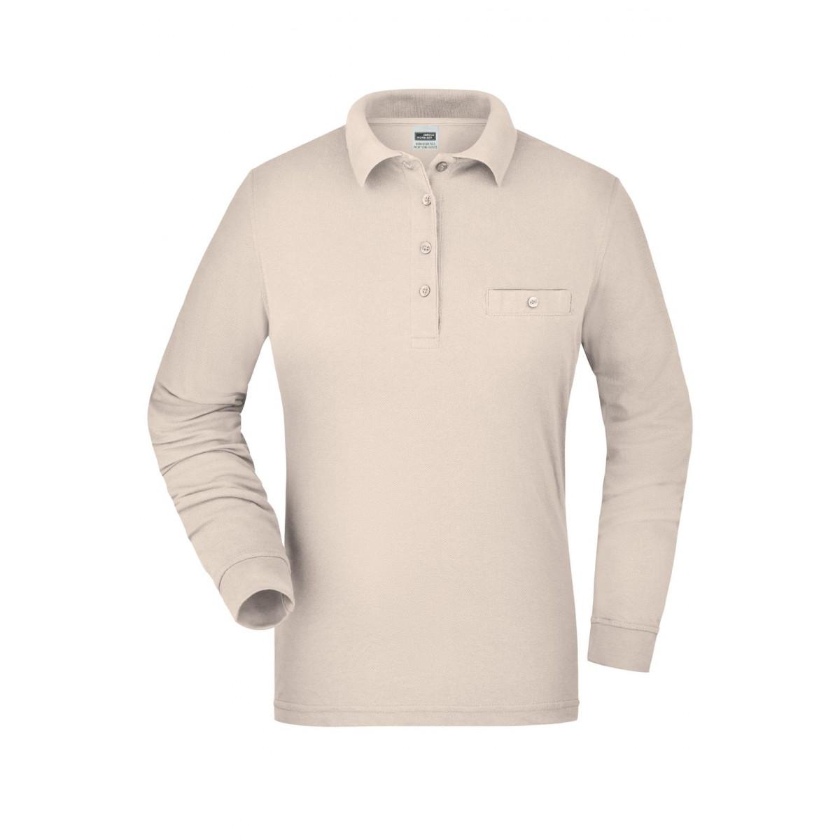 Рубашка поло женская JN865 Ladies Workwear Polo Pocket Longsleeve - Бежевый