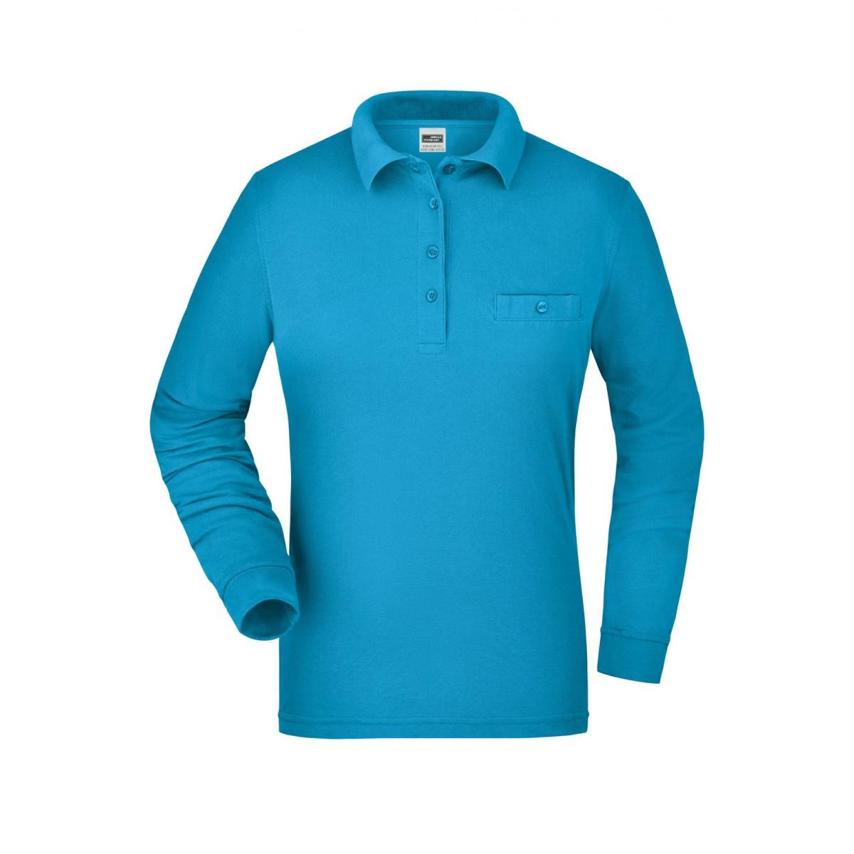 Рубашка поло женская JN865 Ladies Workwear Polo Pocket Longsleeve - Бирюзовый