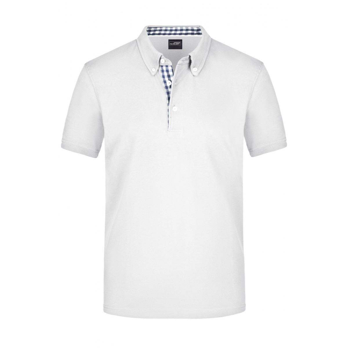 Рубашка поло мужская JN964 Mens Plain Polo - Белый/Темно-синий-Белый