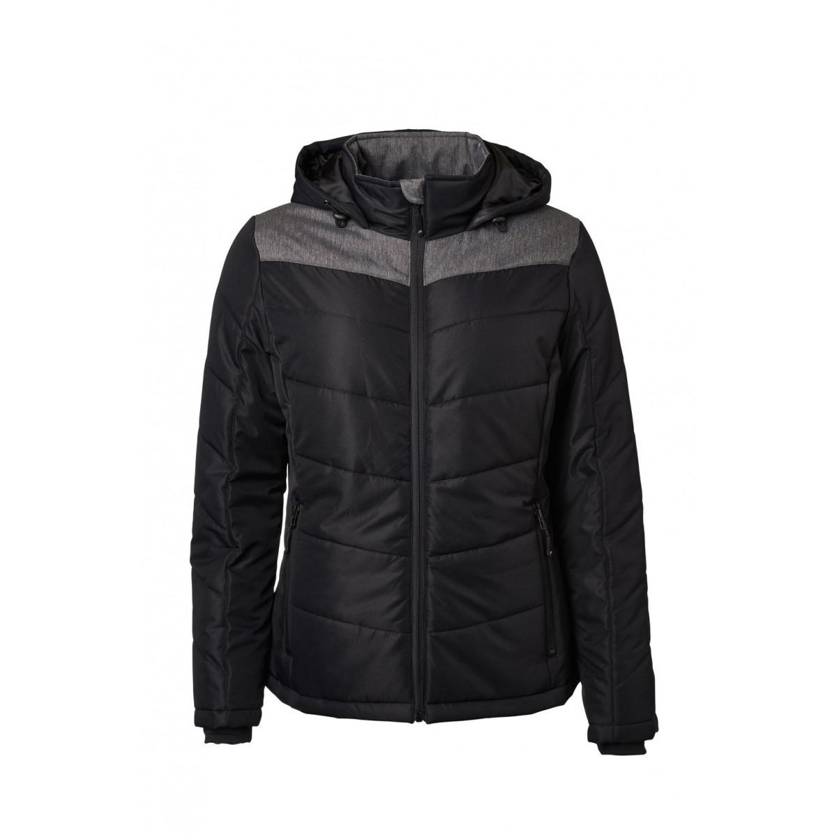 Куртка женская JN1133 Ladies Winter Jacket - Черный/Темно-серый меланж