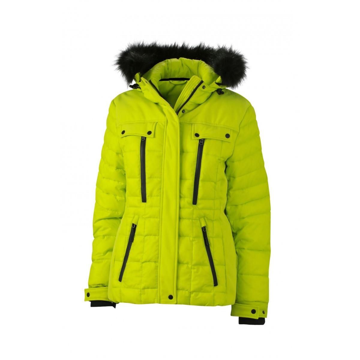 Куртка женская JN1101 Ladies Wintersport Jacket - Ярко-желтый/Черный