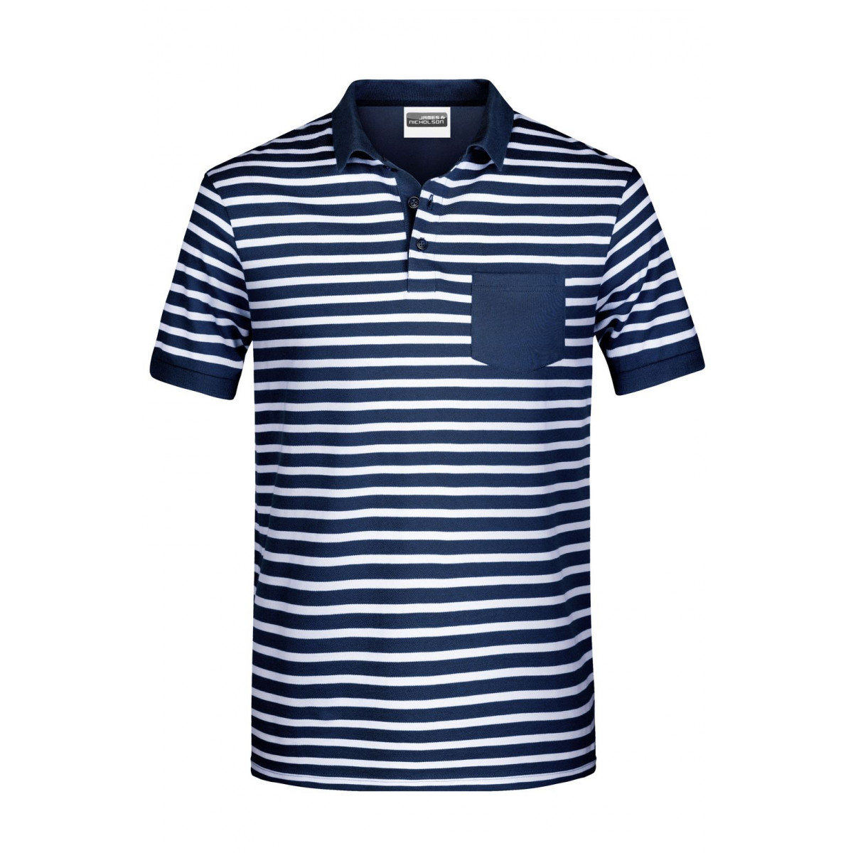 Рубашка поло мужская 8030 Mens Polo Striped - Темно-синий/Белый