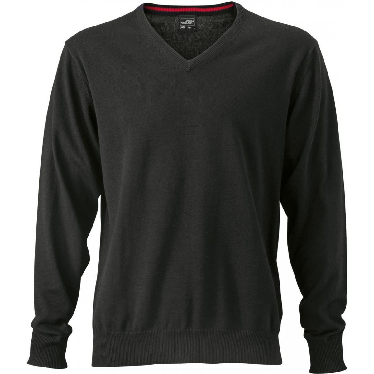 Пуловер мужской JN659 Mens V-Neck Pullover - Черный
