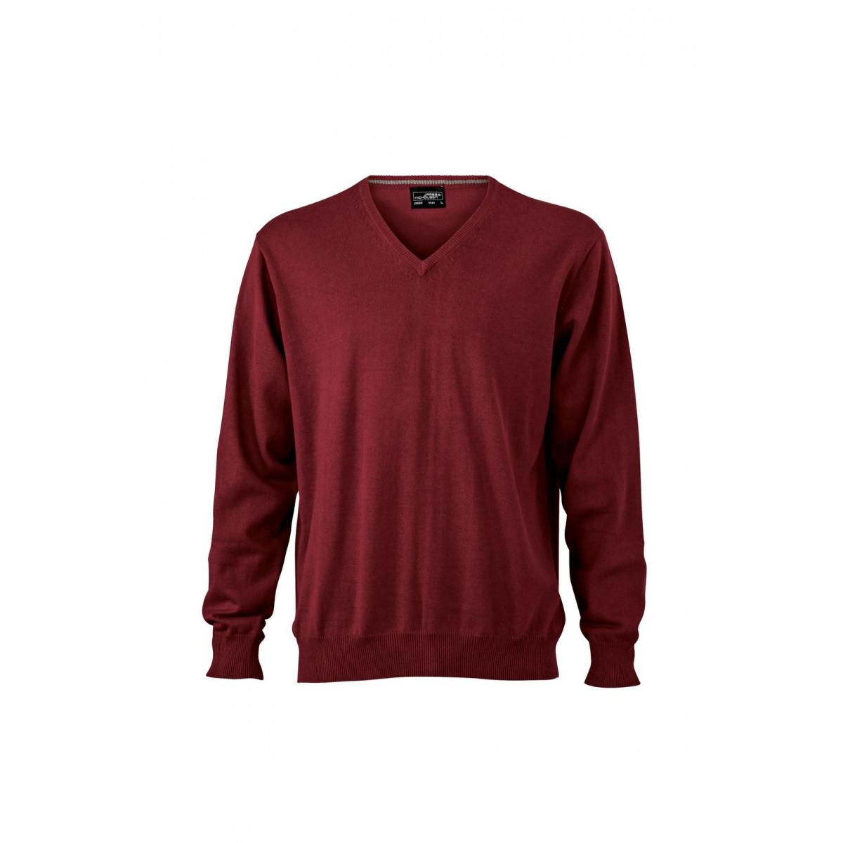 Пуловер мужской JN659 Mens V-Neck Pullover - Бордовый