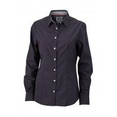 Рубашка женская JN618 Ladies' Plain Shirt - Черный/Черный-Белый