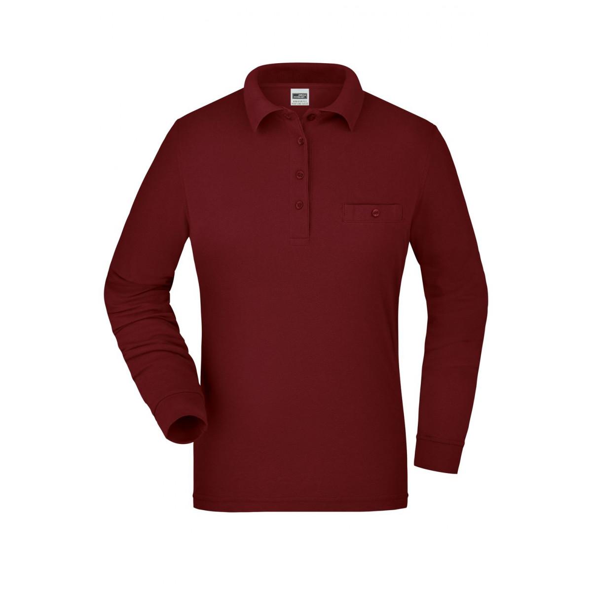 Рубашка поло женская JN865 Ladies Workwear Polo Pocket Longsleeve - Бордовый
