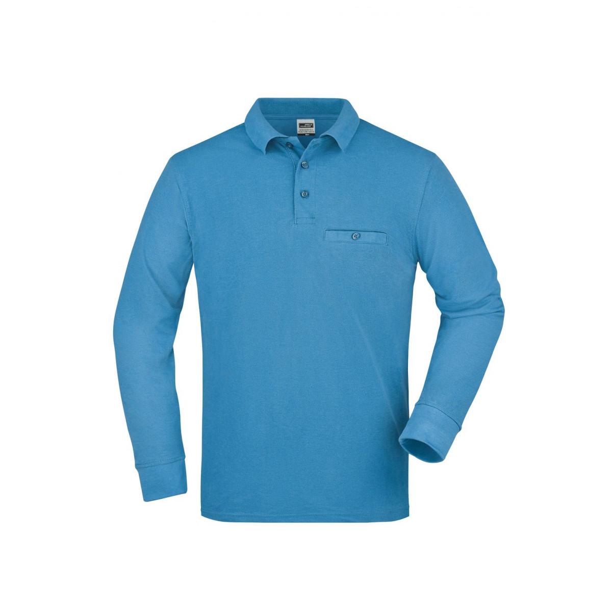 Рубашка поло мужская JN866 Mens Workwear Polo Pocket Longsleeve - Аква