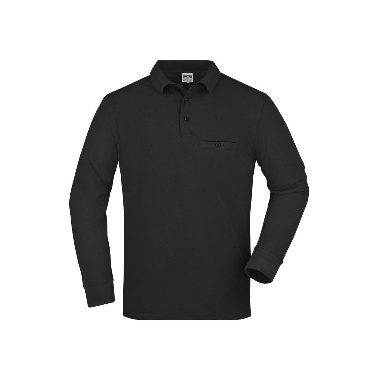 Рубашка поло мужская JN866 Mens Workwear Polo Pocket Longsleeve - Черный