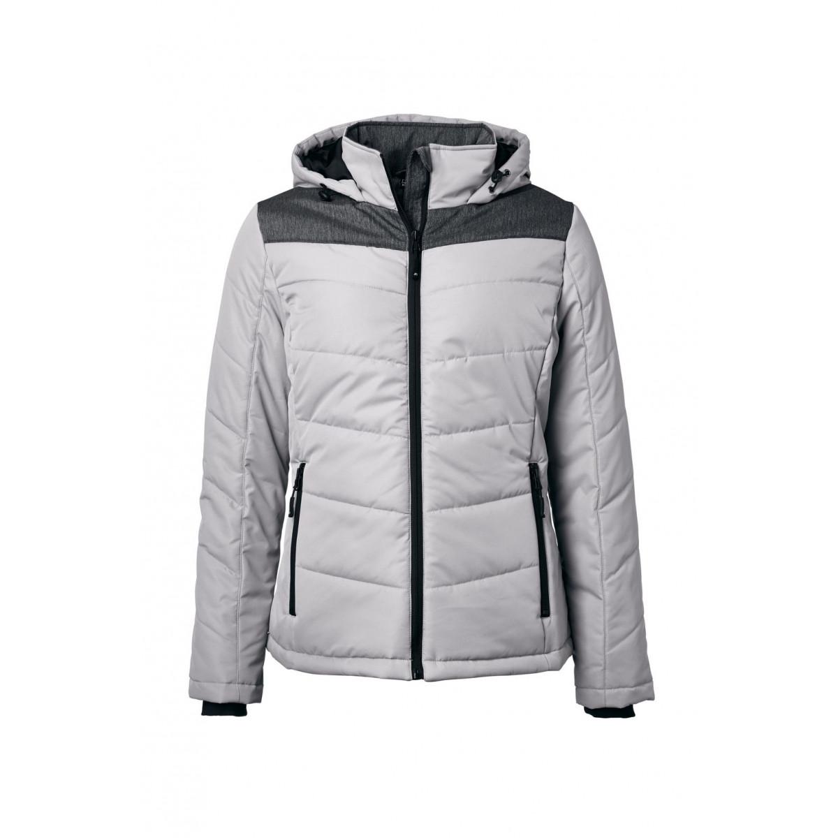 Куртка женская JN1133 Ladies Winter Jacket - Серебряный/Темно-серый меланж