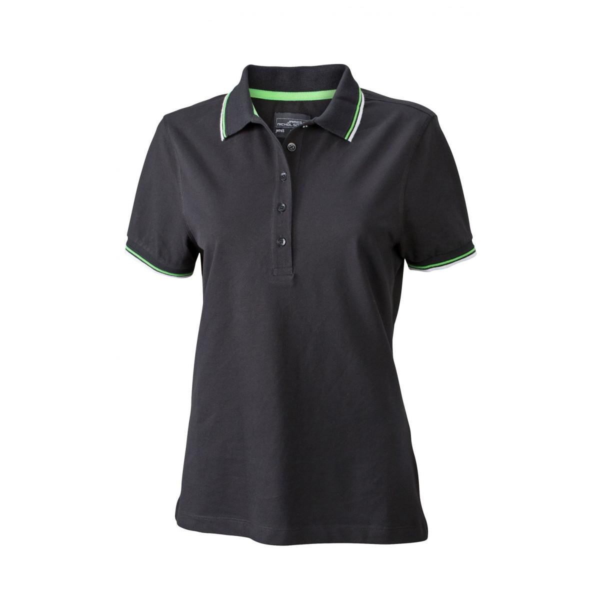 Рубашка поло женская JN965 Ladies coldblack® Polo - Черный/Белый/Лайм