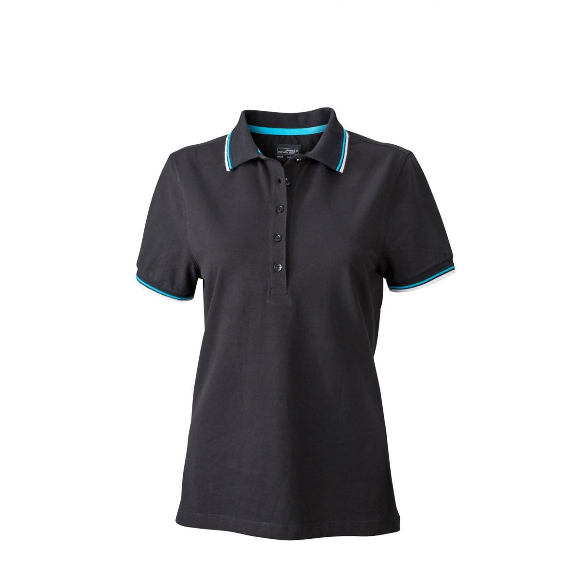 Рубашка поло женская JN965 Ladies coldblack® Polo - Черный/Белый/Бирюзовый