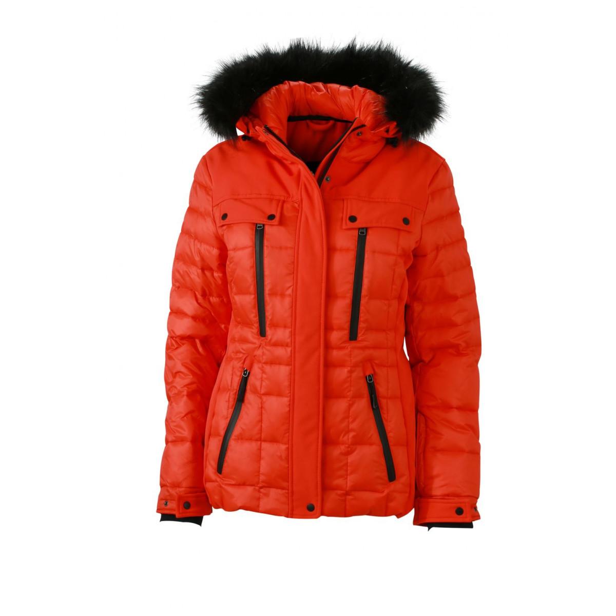 Куртка женская JN1101 Ladies Wintersport Jacket - Ярко-оранжевый/Черный