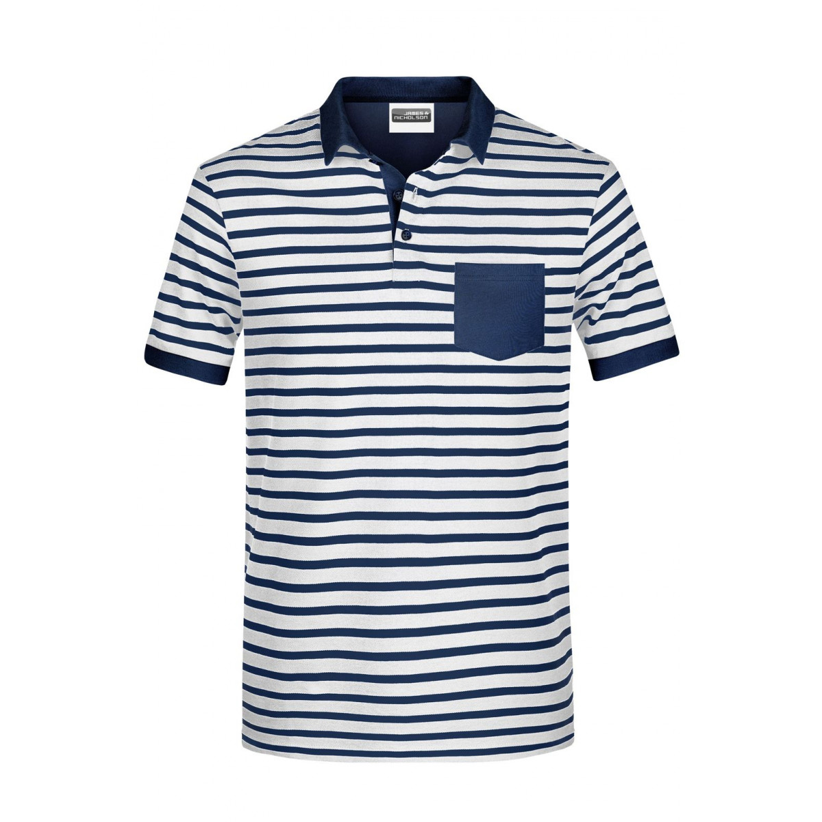 Рубашка поло мужская 8030 Mens Polo Striped - Белый/Темно-синий
