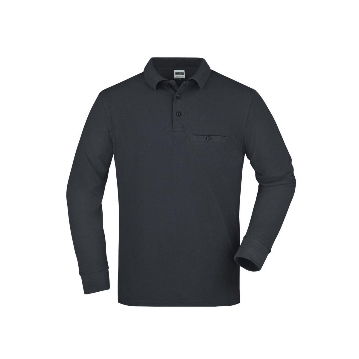 Рубашка поло мужская JN866 Mens Workwear Polo Pocket Longsleeve - Карбон