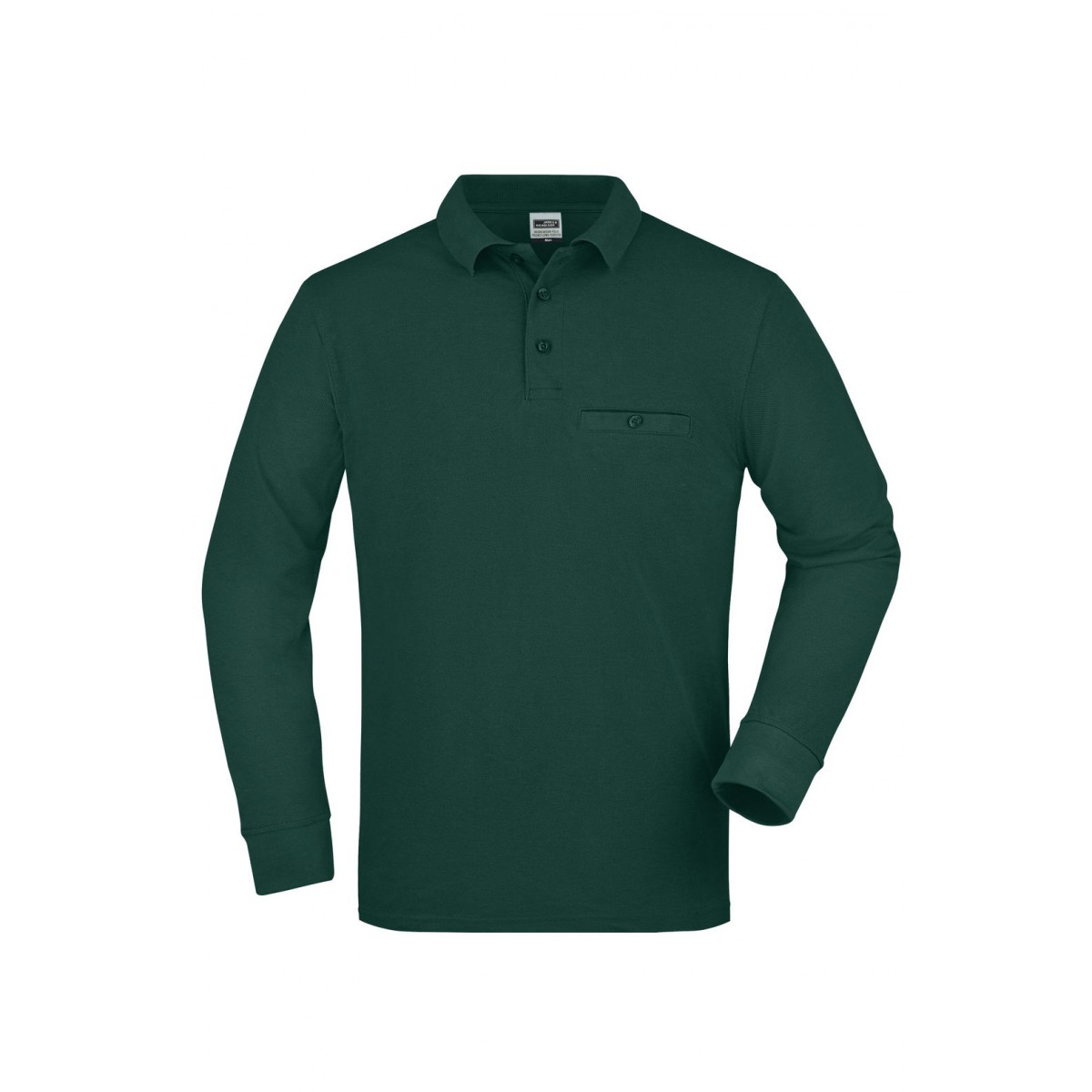 Рубашка поло мужская JN866 Mens Workwear Polo Pocket Longsleeve - Темно-зеленый