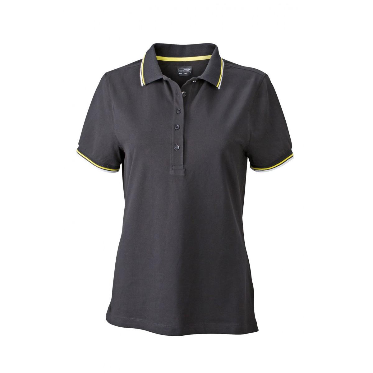 Рубашка поло женская JN965 Ladies coldblack® Polo - Черный/Белый/Желтый